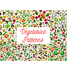 Fresh vegetables seamless pattern set vector