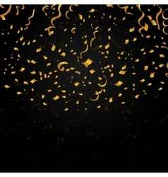 Gold confetti on black background festive vector image
