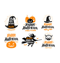 Halloween banner holiday greeting card label or vector