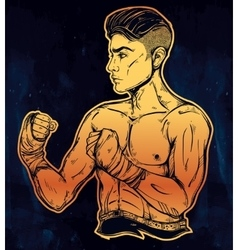 Hand drawn boxer fighter player vector