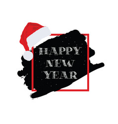 happy new year with christmas hat vector image vector image