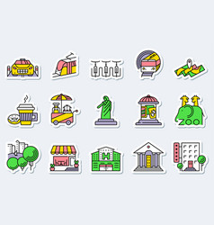 locations and city icons set in line simple and vector image vector image