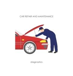 Mechanic produces vehicle diagnostics vector