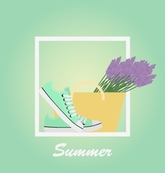 Mint sneakers shoes lavender basket summer vector
