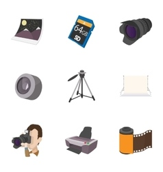 Photo shooting icons set cartoon style vector