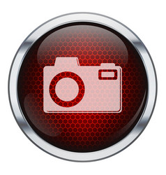 Red honeycomb photo machine icon vector image vector image