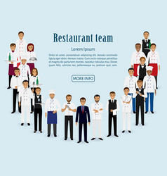 restaurant team group of manager chef waiters vector image