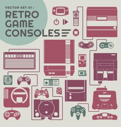 Retro game consoles vector