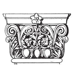 Roman-corinthian pilaster capital corinthian vector