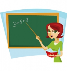 school teacher at blackboard vector image vector image