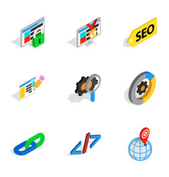 Search information and optimization icons vector