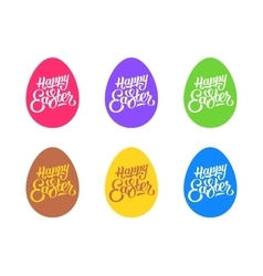 Set of flat easter eggs isolated on white vector