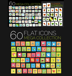 set of square flat web icons vector image vector image