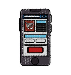 Smartphone with ecommerce app device isolated icon vector
