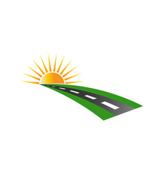 Sunset road pavement logo vector