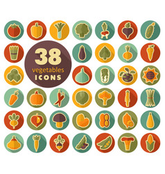 vegetables flat retro icons set vector image