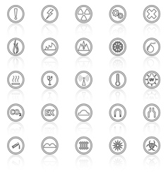Warning sign line icons with reflect on white vector
