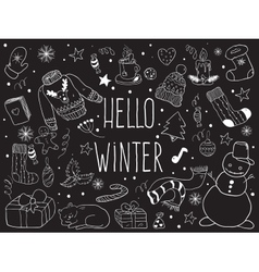 Winter doodle collection vector image vector image