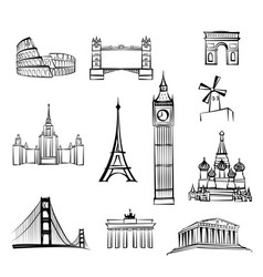 world famous city landmark sign travel location vector image vector image