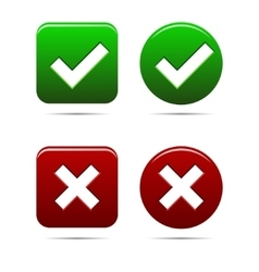 Yes no buttons green an red vector