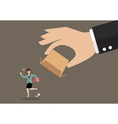 Business woman running away from cardboard box vector