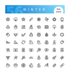 Winter line icons set vector