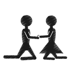 hand drawing male female couple proposal marriage vector image