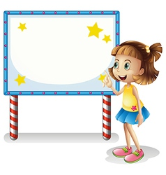 A child near the empty board with series lights vector