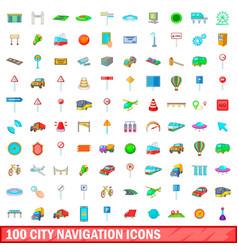 100 city icons set cartoon style vector image