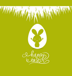 Happy easter cards with easter bunny inside egg vector