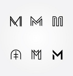 Various letter m big logo typo pack vector