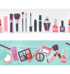 Seamless background with cosmetics sticker icons vector