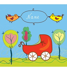 Baby birth card with pram and trees and frame vector