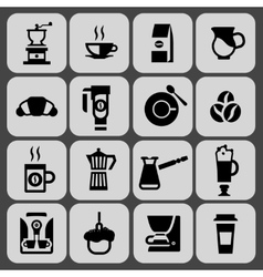 Coffee icons black set vector