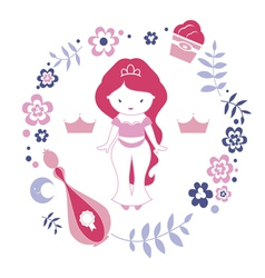 Design with little cute east princess vector