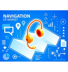 Bright navigation map and head phone on blue vector