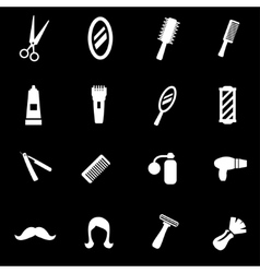 White barber icon set vector