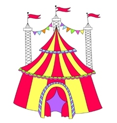 Red and yellow line art drawing of circus tent vector
