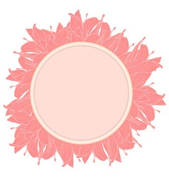 Round pink label decorated with magnolia flowers vector
