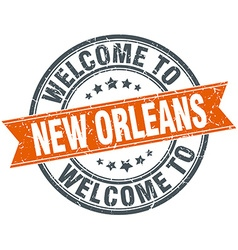 Welcome to new orleans orange round ribbon stamp vector