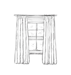 Window and curtains sketch vector