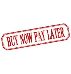 Buy now pay later square red grunge vintage vector