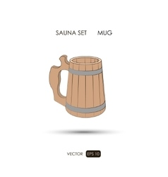 Mug sauna accessories on a white background vector