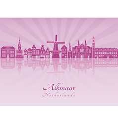 Alkmaar skylline in purple radiant orchid vector