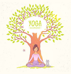 Big tree yoga vector