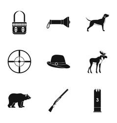 Bird hunting icons set simple style vector