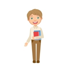 Boy in brown trousers and white vest holding books vector