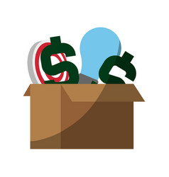 Cardboard box with money sign lightbulb and vector