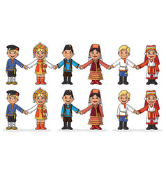 children in national costumes hold hands vector image vector image