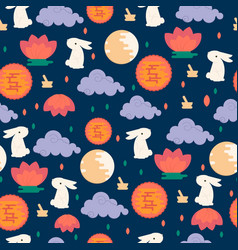Chinese mid autumn festival seamless pattern vector